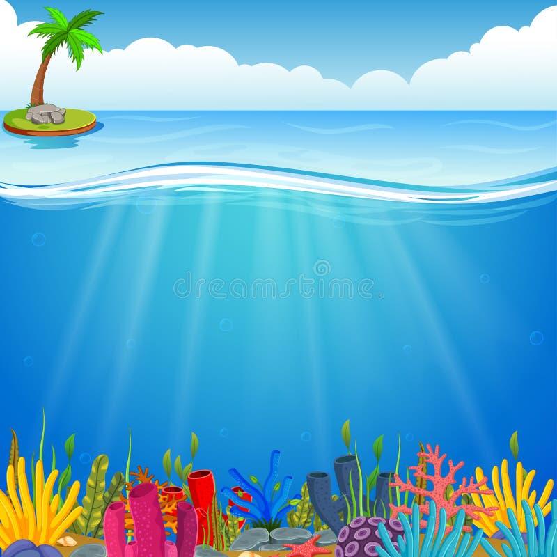 Scena subacquea con la barriera corallina tropicale illustrazione di stock