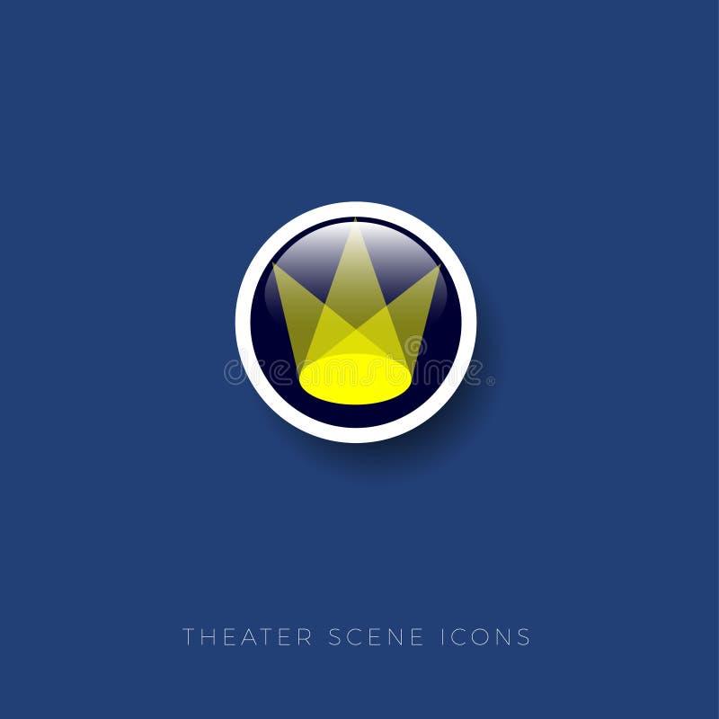 Scena teatru ikona Zaświecająca arena lub scena tła ikony ciągnikowej sieci kołowy biel royalty ilustracja