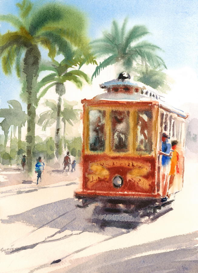 Scena urbana di San Francisco Street Cable Car Watercolor con l'illustrazione dipinta a mano della gente illustrazione vettoriale