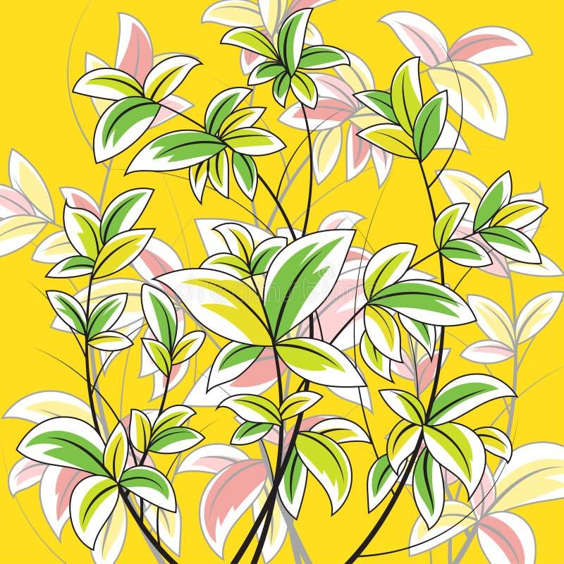 Scena variopinta della natura della foglia su un giallo illustrazione vettoriale