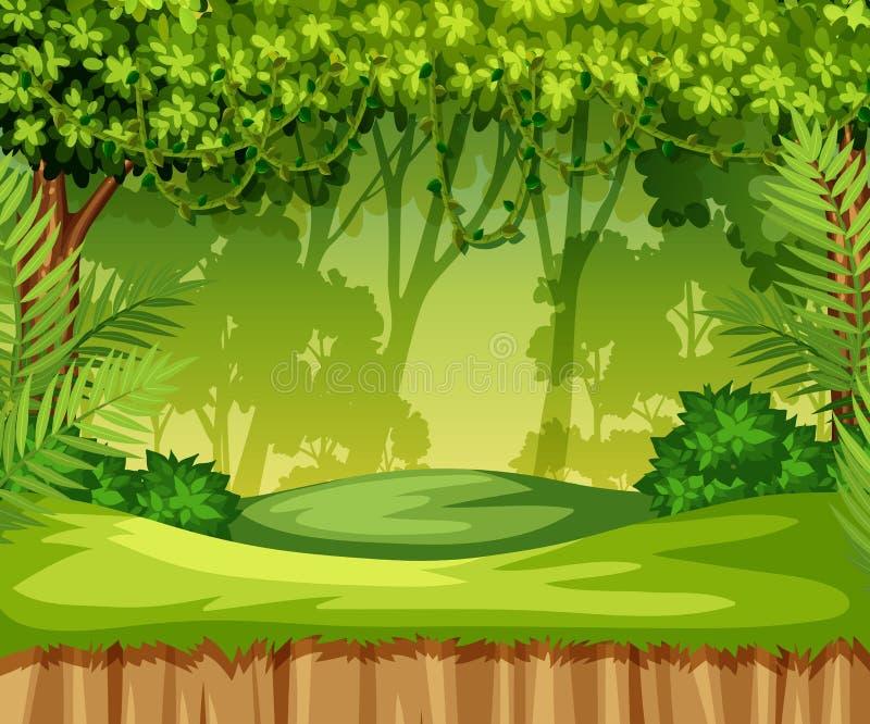 Scena verde del paesaggio della giungla royalty illustrazione gratis