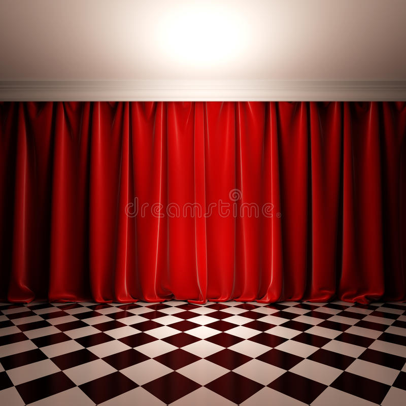 Scena vuota con la tenda rossa del velluto. illustrazione vettoriale