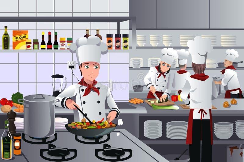 Scena wśrodku restauracyjnej kuchni ilustracji