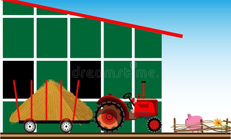 scena wiejskiej Ciągnik z sianem blisko gospodarstwa rolnego royalty ilustracja