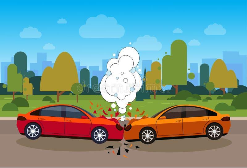 Scena wypadku samochodowego niebezpieczeństwo Na Drogowym pojęciu royalty ilustracja