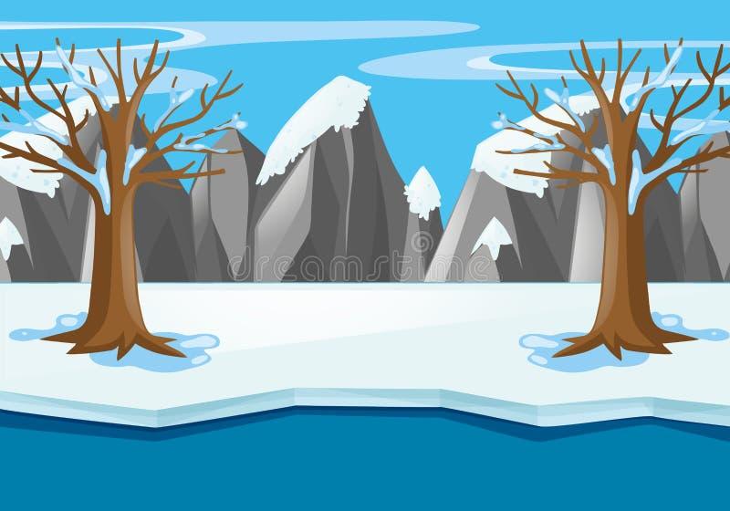 Scena z śnieżnym polem i rzeką w zimie royalty ilustracja
