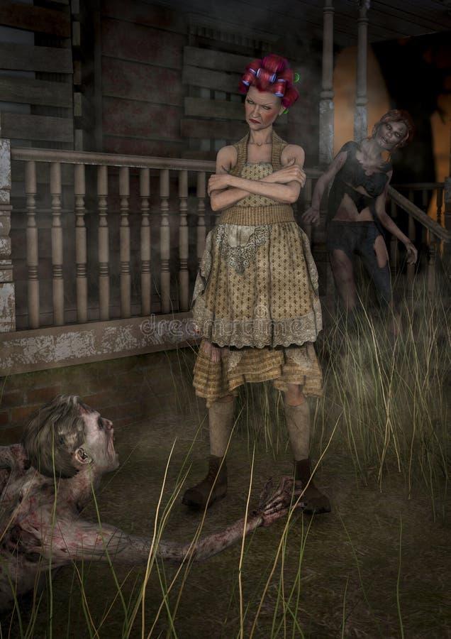 Scena z babcią z dwa żywymi trupami próbuje łapać ona ilustracja wektor