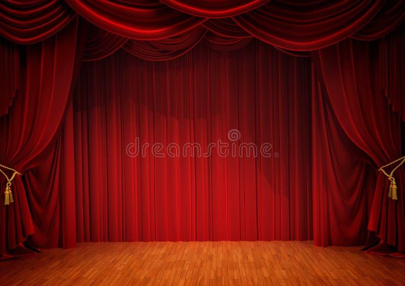Scena z czerwoną zasłoną obraz stock