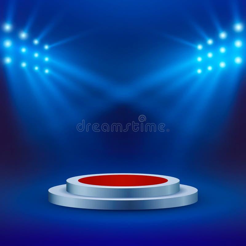Scena z czerwonym chodnikiem i światło reflektorów na błękitnym tle Koncertowa arena lub scena pusty podium wektor ilustracji
