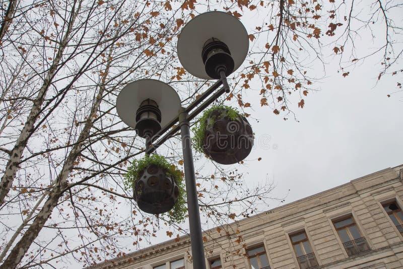 Scena z lampą Elektrycznego światła iluminacja w miasteczku Jesień w mieście, ulica obraz royalty free