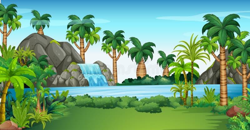 Scena z siklawą i jeziorem ilustracji