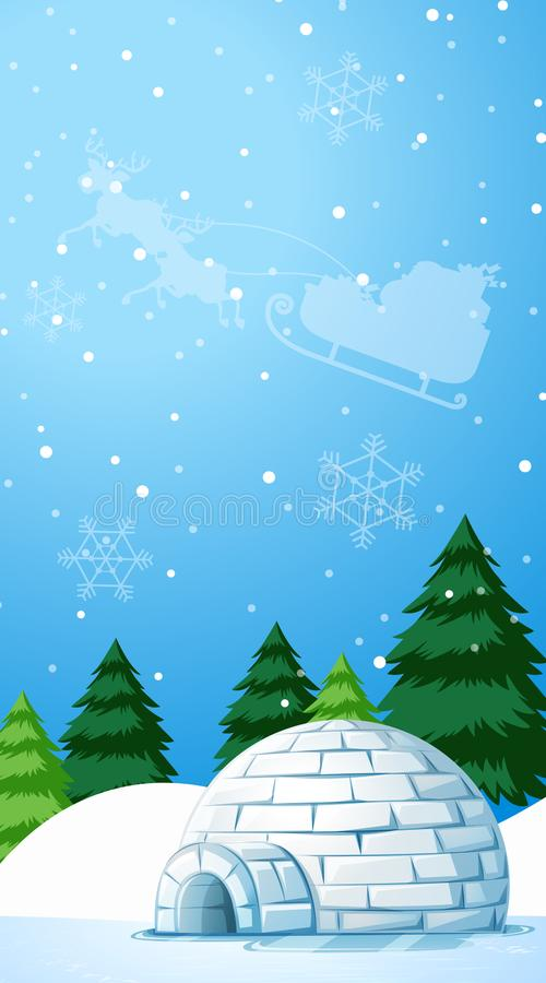 Scenario di sfondo con igloo nel campo della neve illustrazione vettoriale