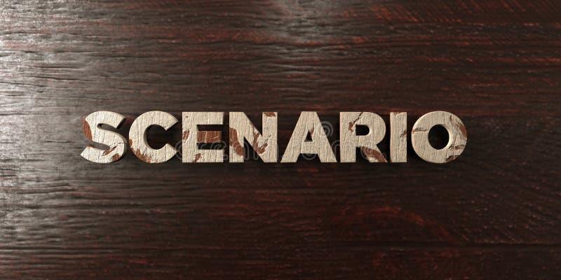 Scenario - grungy houten krantekop op Esdoorn - 3D teruggegeven royalty vrij voorraadbeeld vector illustratie
