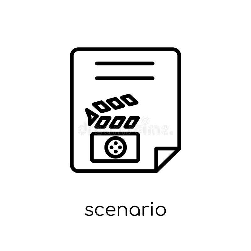 Scenariosymbol Moderiktig modern plan linjär vektorscenariosymbol på royaltyfri illustrationer