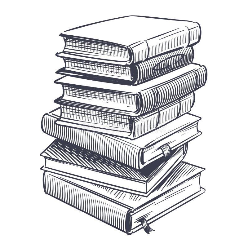 Scenariusz ze stosem książek Rysunki wyryły kupę starego słownika i ilustracje wektora książki badawczej ilustracja wektor