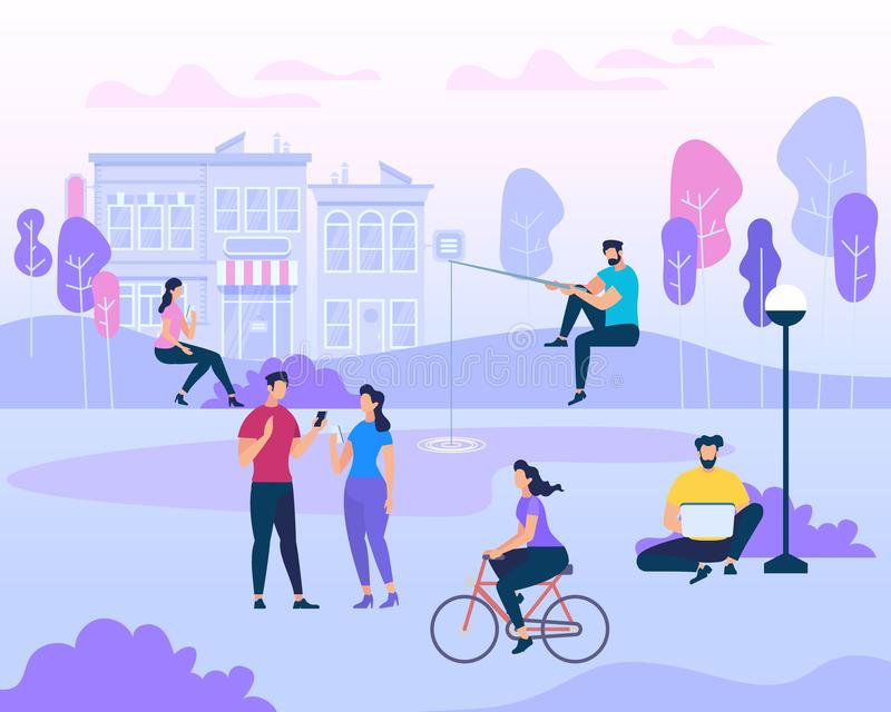 Scene with Active Family Vacation, Park Activities. Scene with Active Family Vacation. People Groups on Bbq Picnic, Fishing, Wqalking Dogs. Happy Couples and royalty free illustration