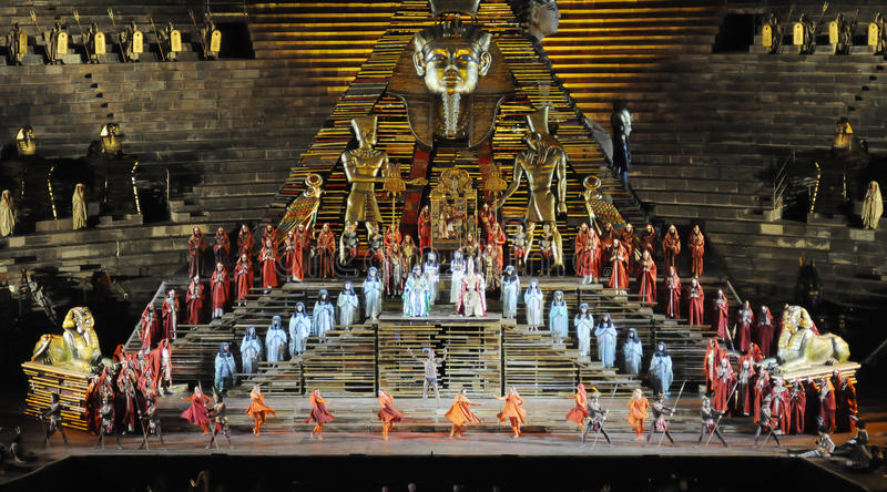 Scene of Aida at Arena of Verona. One of the scenes of Aida by Giuseppe Verdi, which take place throughout the summer at the Arena of Verona royalty free stock photo
