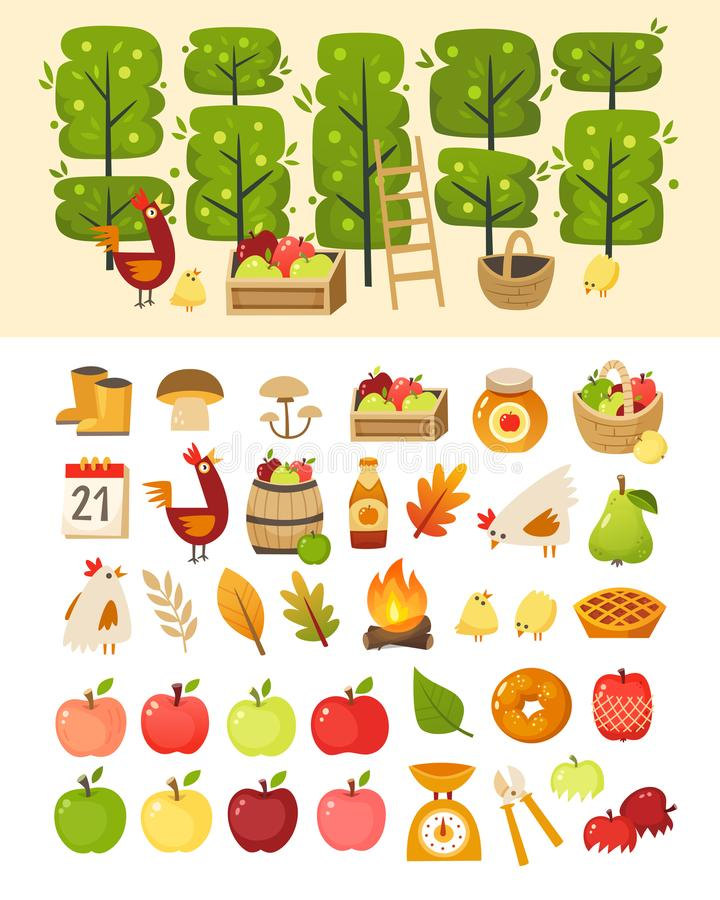 A scene with apple garden trees and elements in front of it. Plus icons of various apple theme items, foods and containers. vector illustration