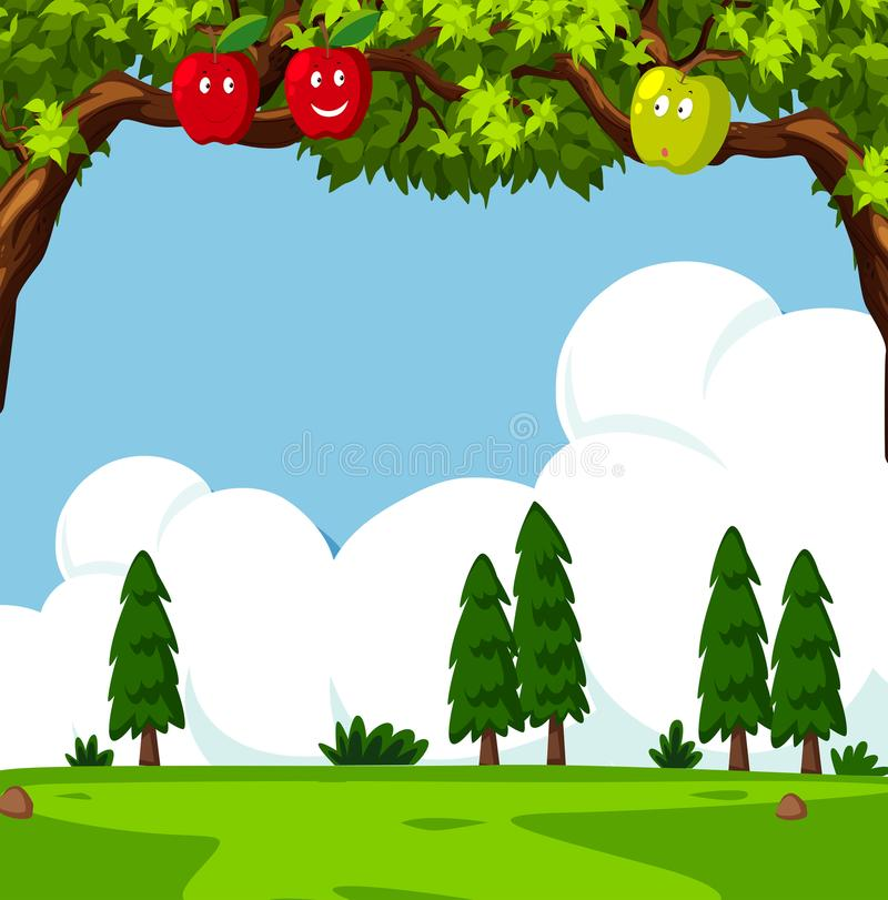 Scene with apple trees and green field. Illustration stock illustration