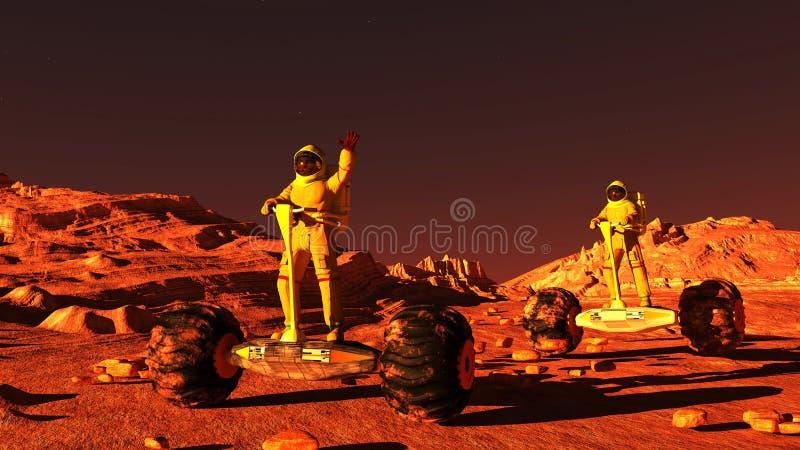 Scene of the astronaut on mars 3D illustration. Scene of the astronaut on mars royalty free illustration