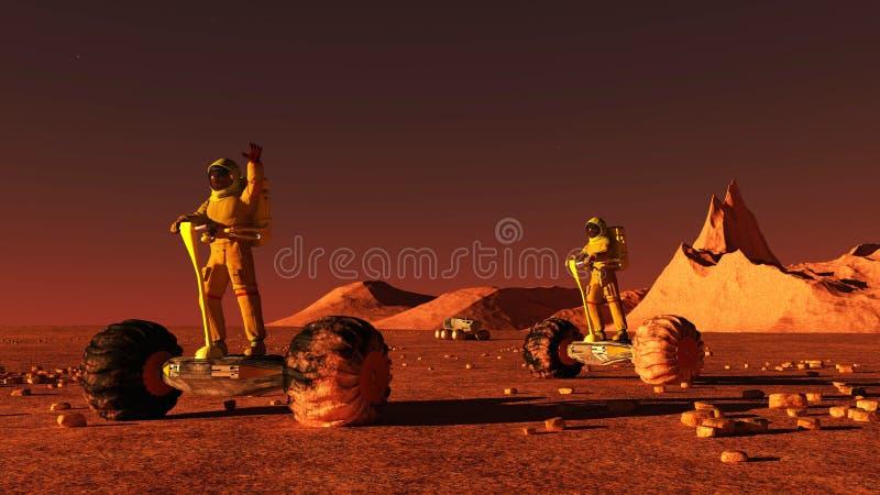 Scene of the astronaut on mars 3D illustration. Scene of the astronaut on mars vector illustration