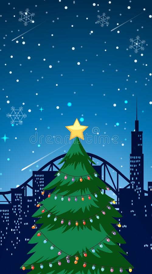 Scene with big christmas tree in city. Illustration vector illustration
