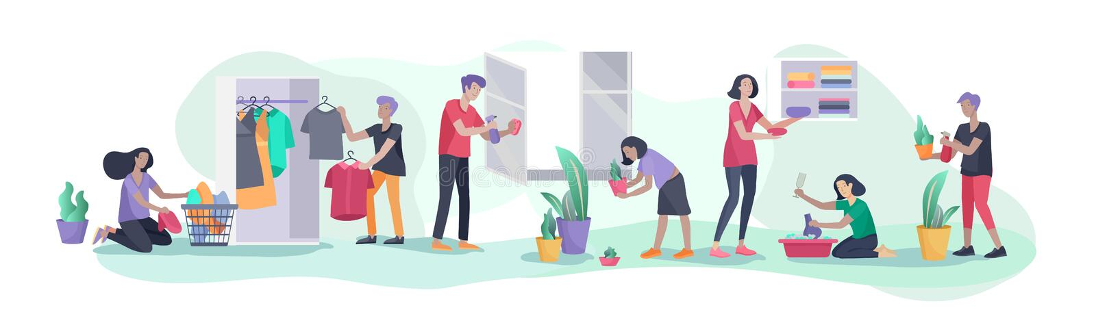 Scene with big family doing housework, kids helping parents with home cleaning, washing dishes, fold clothes, cleaning vector illustration