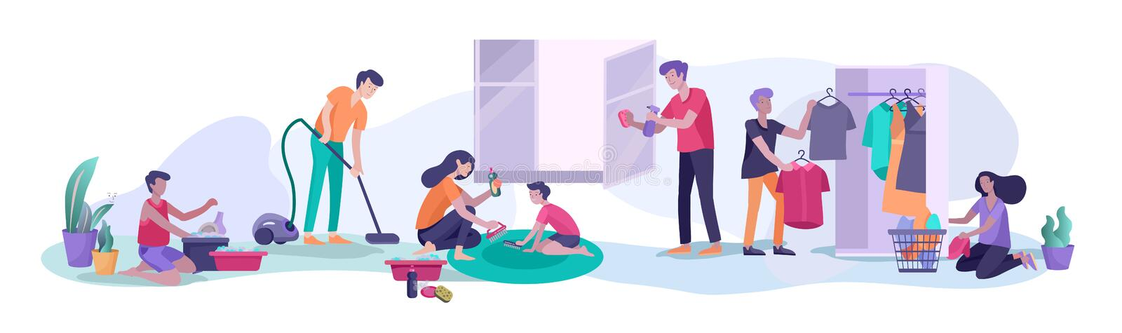 Scene with big family doing housework, kids helping parents with home cleaning, washing dishes, fold clothes, cleaning. Window, carpet and floor, wipe dust royalty free illustration