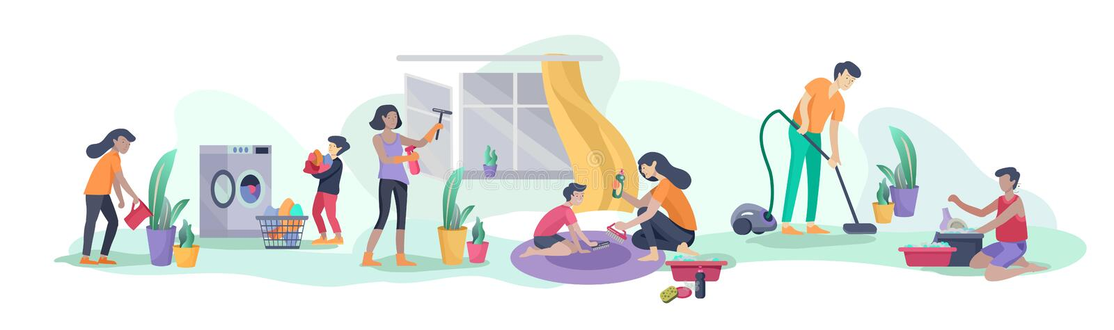 Scene with big family doing housework, kids helping parents with home cleaning, washing dishes, fold clothes, cleaning. Window, carpet and floor, wipe dust vector illustration