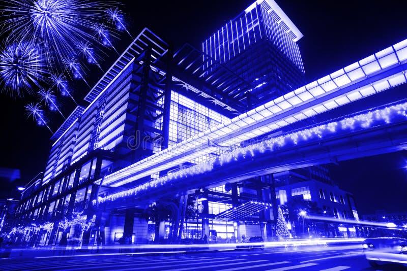 Scene blu di notte di stile della città di Taipeh, Taiwan fotografie stock