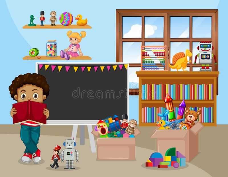Scene with boy reading book in the classroom stock photos