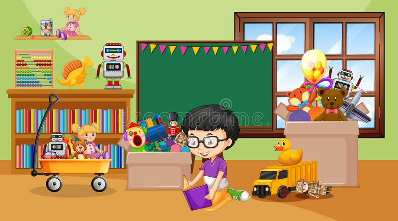 Scene with boy reading book in the room royalty free stock photography