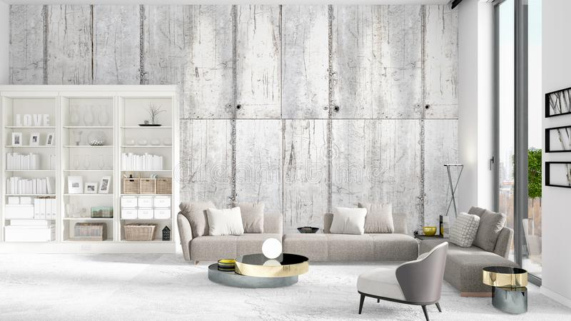 Scene with brand new interior in vogue with white rack and modern grey sofa. 3D rendering. Horizontal arrangement. stock illustration