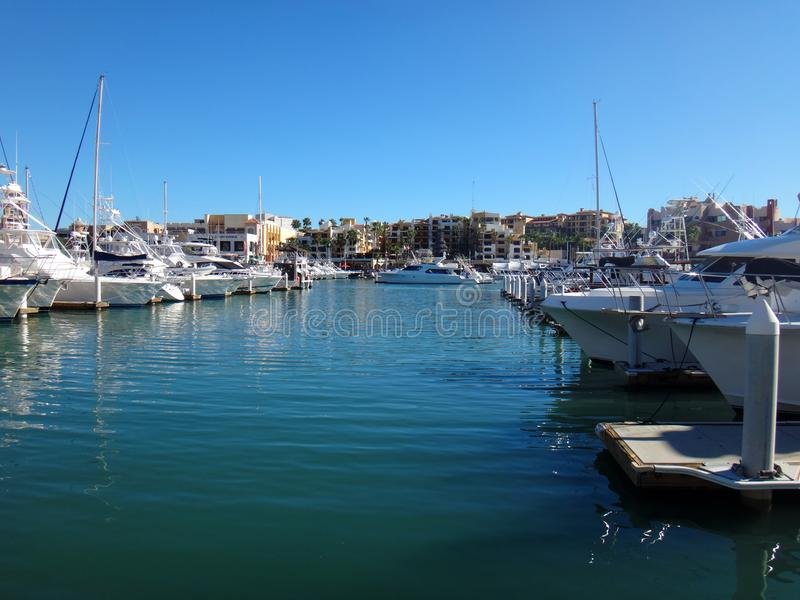 Scene of Cabo San Lucas from a cruise ship. Baja California, Mex. Ico royalty free stock image