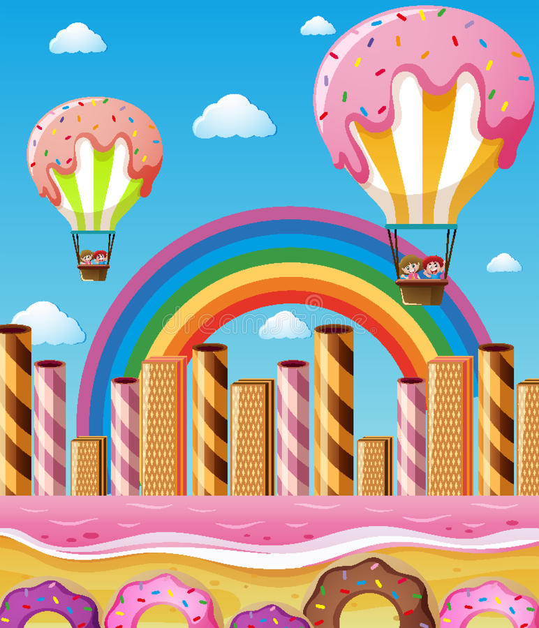 Scene with children flying in candy balloons stock illustration