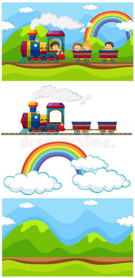 Scene with children on the train stock illustration
