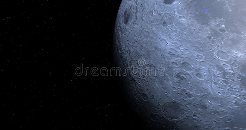 A scene with a close-up view of the Moon. vector illustration