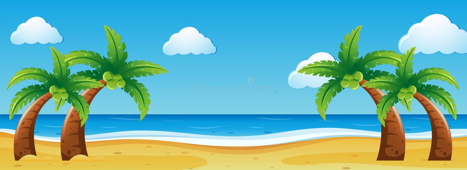 Scene with coconut trees on the beach vector illustration