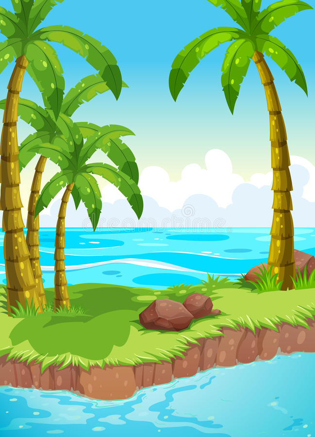 Scene with coconut trees on island vector illustration