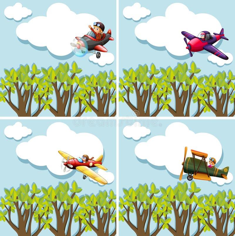 Scene con i piloti che pilotano aeroplano royalty illustrazione gratis