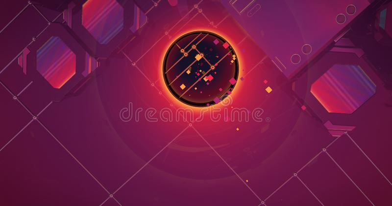 A scene of conceptual geometrical circles making a pattern. royalty free illustration