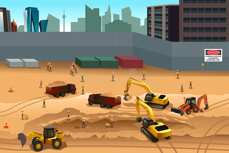 Scene in a construction site. A vector illustration of scene in a construction site vector illustration