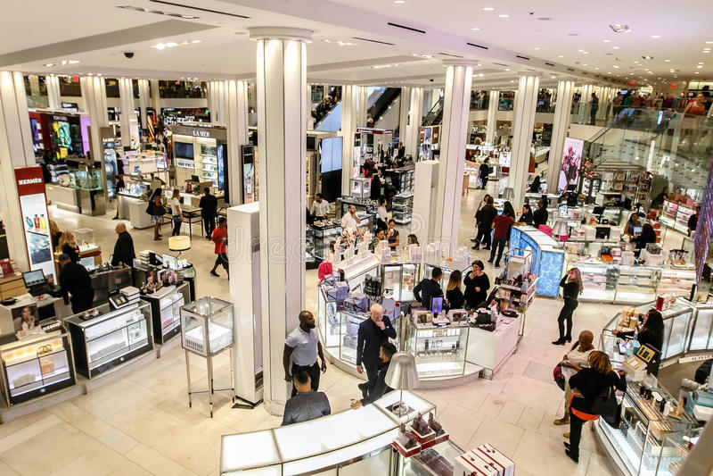 The scene of the cosmetics floor of Macy`s royalty free stock photos