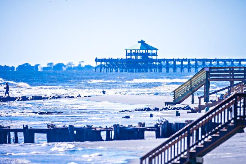 Scene costiere intorno alla spiaggia Carolina del Sud di follia fotografia stock