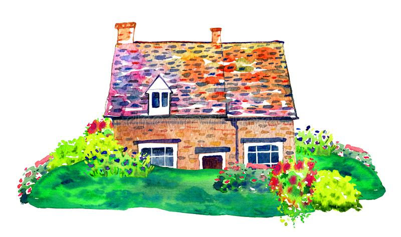 Scene with countryhouse and plants on the lawn. Watercolor old stone Europe house. Hand drawn illustration stock illustration