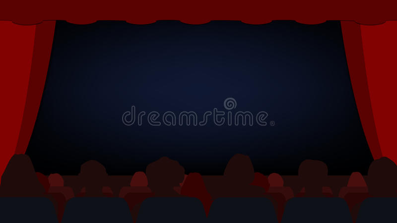 The scene with the curtain open Start the show Vector royalty free illustration