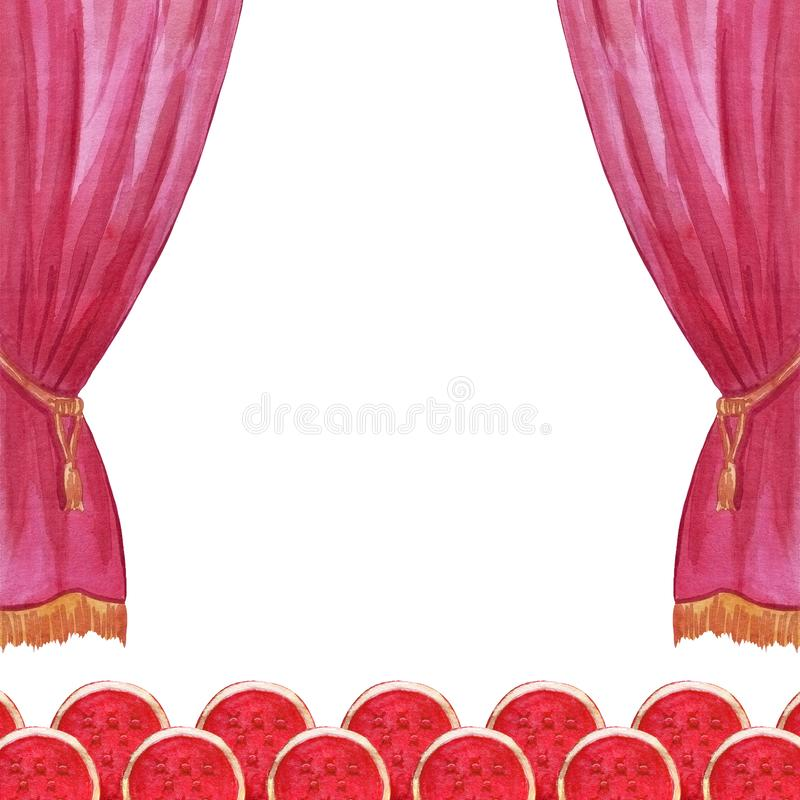 Scene curtain watercolor circus, theater, show, concert illustration hand drawn vector illustration