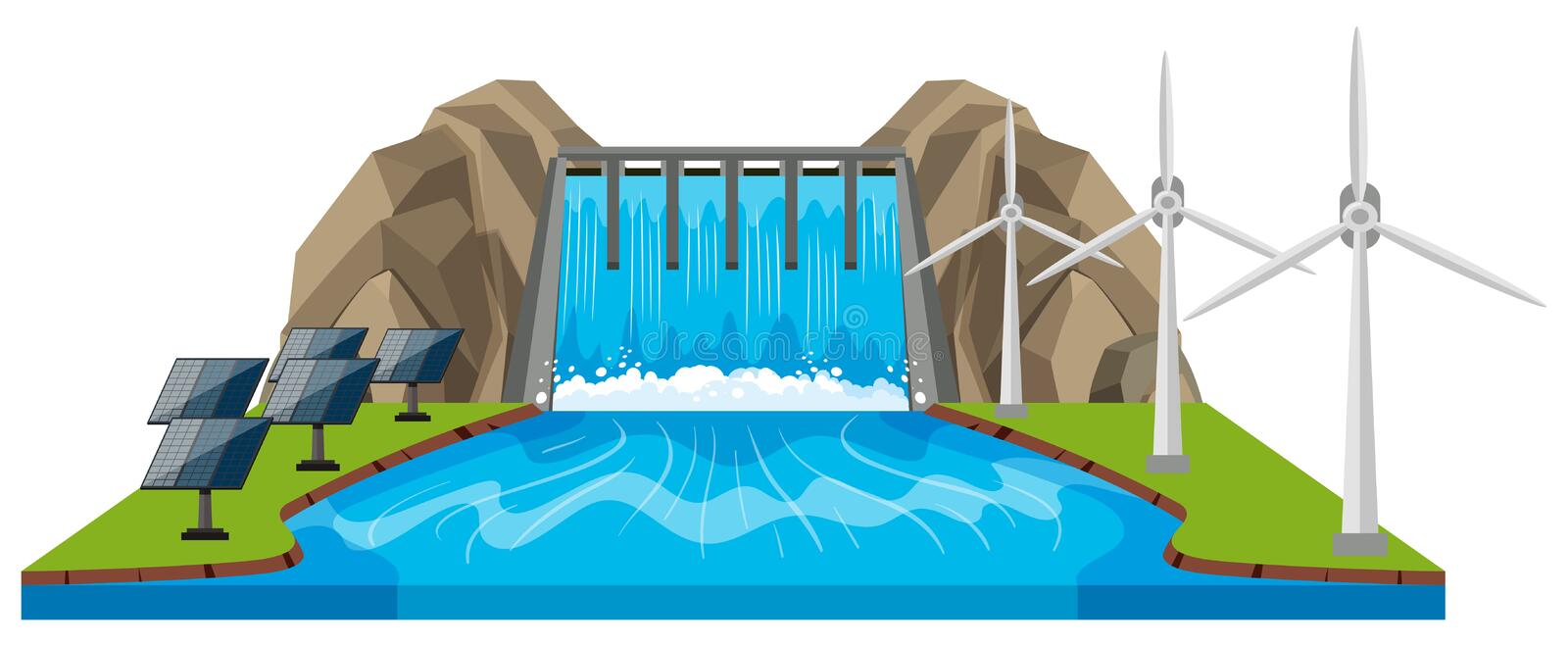 Scene with dam and river royalty free illustration