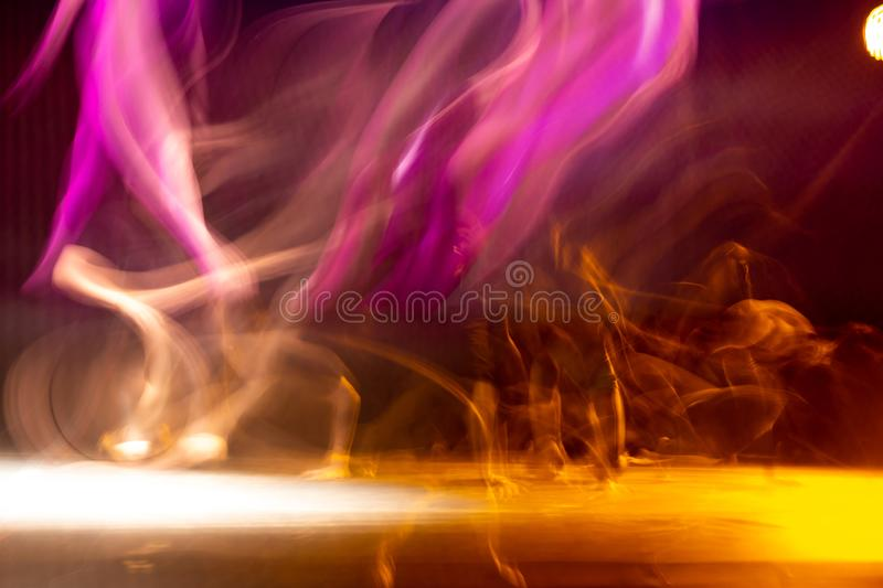 Scene of dancers in theater with long exposure stock photo