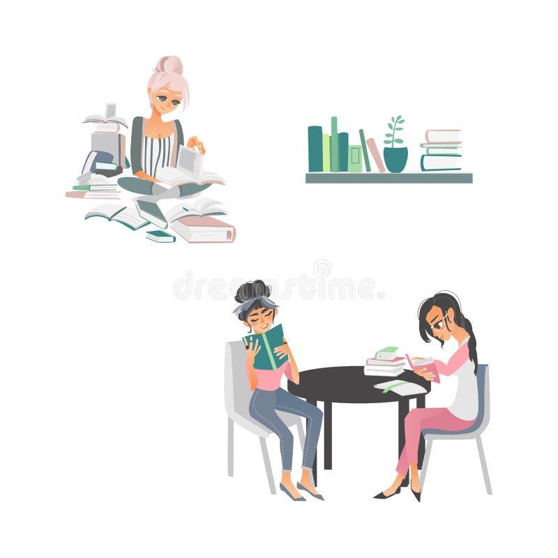 Scene dei libri di lettura della gente del fumetto di vettore royalty illustrazione gratis